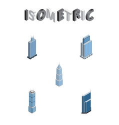 Isometric building set of residential urban vector