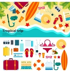 Kit for tropical trip on sand vector image