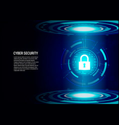 padlock on future technology digital background vector image