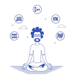 programmer in glasses sitting in meditation vector image vector image