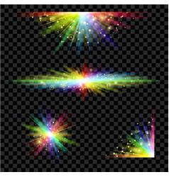 rainbow glowing light set vector image vector image