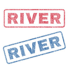 River textile stamps vector