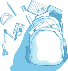 School bag with school supplies scattered around vector