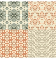 seamless vintage wallpaper patterns vector image vector image