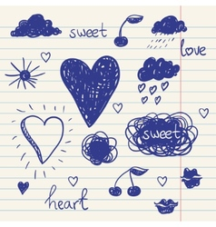 Set of chalk doodles cloud hearts laurel wreath vector