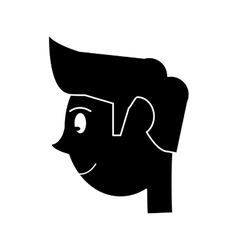Silhouette head young man smiling side vector