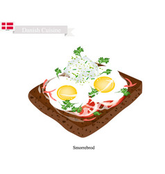 smorrebrod with fried egg the national dish of de vector image vector image