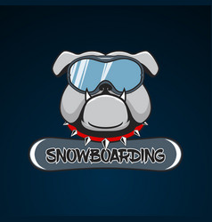 Snowboarding logo bulldog in the snowboarding mask vector
