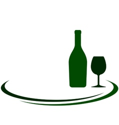 White wine bottle and glass background vector