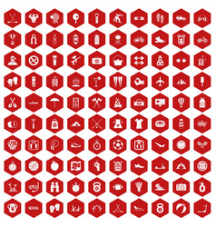 100 active life icons hexagon red vector