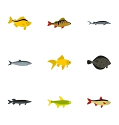 Species of fish icons set flat style vector