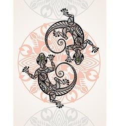 Gecko lizard in in tattoo style vector image