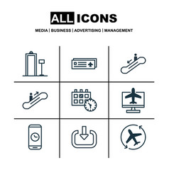 Set of 9 travel icons includes call duration vector