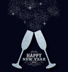 New year 2018 party silver glitter greeting card vector