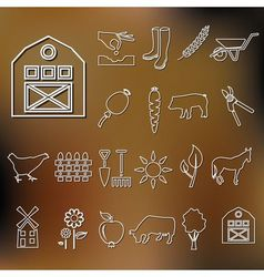 Farm outline icons vector