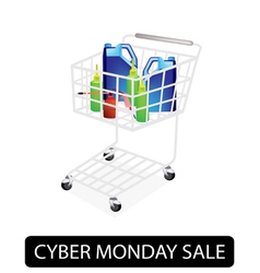 Engine oil packaging in cyber monday shopping cart vector