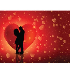 Couple on hearts background vector
