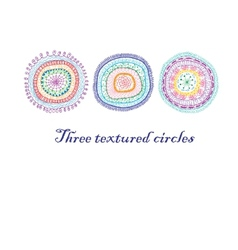 Three doodle circles background vector