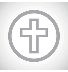 Grey christian cross sign icon vector
