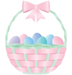 Pink easter basket filled with eggs vector