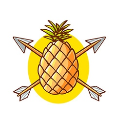 Colorful yellow pineapple pierced by two vector
