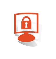 Locked monitor sticker orange vector