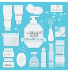 Skin care products icons set on blue background vector