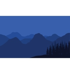 Mountain silhouette at night vector