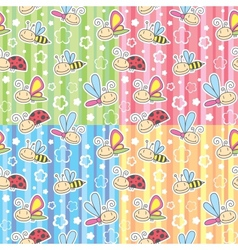 Patterns with insects vector