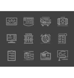 Cardiology center white flat line icons vector
