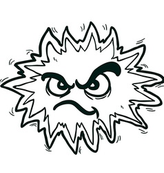 Black and white angry freehand drawn cartoon vector