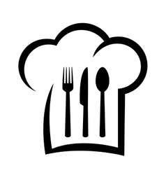 Black restaurant icon with chef hat vector