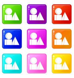 Box of bricks icons 9 set vector
