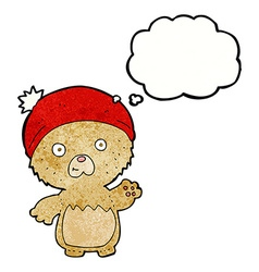 Cartoon cute teddy bear in hat with thought bubble vector