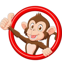 Cartoon funny monkey giving thumb up vector