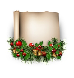 Christmas old paper background with fir twigs vector image