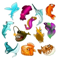 collection of tropical fishes isolated vector image