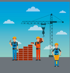 construction workers wall brick jackhammer and vector image