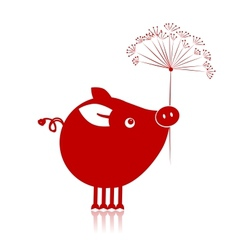 Cute piggy with flower for your design vector