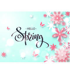 hello spring beautiful background with paper vector image