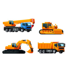 Icons of heavy machinery industry trucks vector