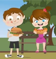 kids eating fast food vector image vector image