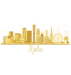 Kobe japan city skyline golden silhouette vector