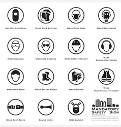 Mandatory safety and caution sign icons set vector