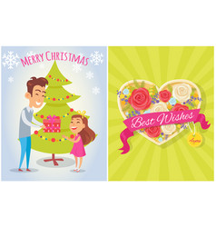 Merry christmas best wishes for you postcard heart vector
