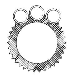 Monochrome sketch of circular speech with sawtooth vector