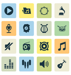 Music icons set collection of instrument music vector