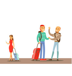 passengers saying goodbyes in the airport part of vector image