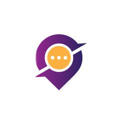 pin chat location logo vector image