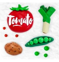 Plasticine vegetables tomato vector image vector image